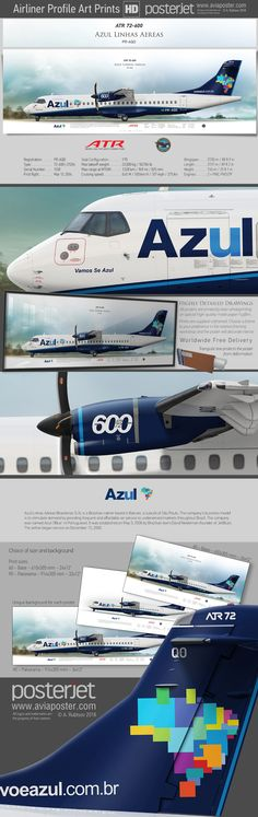 ATR 72-600 Azul Linhas Aéreas PR-AQO | www.aviaposter.com | #aviation #jetliner #airplane #pilot #aviationlovers #avgeek #jet #airport #pilotlife #cabincrew
