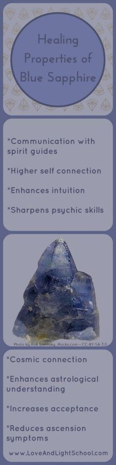 Healing properties of Blue Sapphire include enhancing communication with spirit guides, connecting with your higher self, intuition, and many more. Chakra Crystals, Crystals And Gemstones, Stones And Crystals, Gem Stones, Crystal Healing Chart, Healing Stones, Healing Crystals, Ascension Symptoms, Crystal Uses
