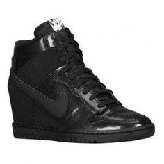 Paris Nike Dunk Sky High (Haute) Leather (Cuir) Baskets Compensées Femme Code de Style: 28899010 Noir Boutique