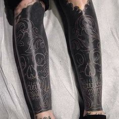White ink on blacked out legs by @imbusy666 #tttism #tattoo #legsleeves…