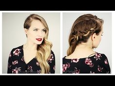 Holiday Hairstyle 3 Ways for Long or Short hair! Holiday Hairstyle 3 Ways for Long or Short hair! Semi Formal Hairstyles, Side Swept Hairstyles, Holiday Hairstyles, Cool Hairstyles, Kayley Melissa, Medium Hair Styles, Short Hair Styles, Messy Curls, Senior Prom