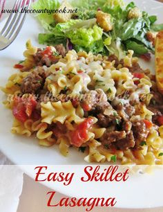 The Country Cook: Garfield's Easy Skillet Lasagna.use gf pasta and gf beef broth Beef Dishes, Pasta Dishes, Food Dishes, Main Dishes, Rice Pasta, Dinner Dishes, Rice Dishes, Pasta Recipes, Dinner Recipes