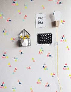 Extra Tiny Triangles Colorful  - WALL DECAL