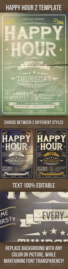 "Happy Hour Indie Flyer Vol. 2  #GraphicRiver        ""HAPPY HOUR VOL. 2"" Use restaurant, event, brewery, etc… All the text is 100% STYLES INCLUDED! • 300 DPIs • CMYK mode  • PSD file provided in Photoshop Marks area • With Guidelines download here  ""HAND SHOP TYPOGRAPHY C30"" download here  ""BIG NOODLE TITLING"" download here  ""WESTON REGULAR FREE""download here  ADDITIONAL CREDITS  • FOLDED PAPER TEXTURE BY: SPikEtheSWeDe spiketheswede.deviantart /art/"