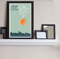 Flight of the Peach - James and the Giant Peach Inspired - Movie Art Poster on Etsy, $14.95
