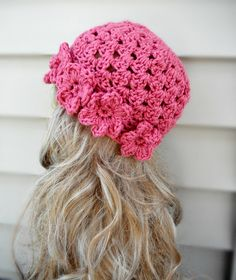 Is this adorable or what!?!  Pink Crochet Hat With Flowers Womens by knottycreationsbyET, $26.00