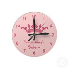 Personalized Pink Princess Girl's Bedroom Wallclocks