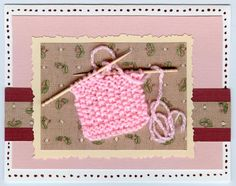 Make the card, knit a patch, then replace the knitting needles with fancy toothpicks. Hand Made Greeting Cards, Making Greeting Cards, Xmas Cards, Paper Crafts, Diy Crafts, Baby Birthday, Cool Cards, Baby Cards, Knitting Needles