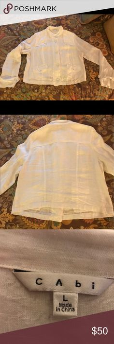 CAbi Jacket Light weight...stylish Linen jacket with metal accent buttons. Dress up or down. Like NEW! Wore only once...smoke and pet free home CAbi Jackets & Coats