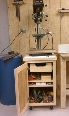 Rolling drill press cabinet.  Keith's notes:   find a suitable cabinet door in the supply room, and size the cart to that.  Or, make own door.  When making the fence, make it an appropriate size for hanging on the side of the cabinet.