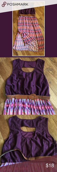 Lace top dress with belt Lined lace top maxi dress with cutout in back is a beautiful plum in color. Bottom is unlined, lightweight and colorful. Salmon, plum, white and turquoise with slits up both sides. Belt included. Only wore once. Flat laying measurements are; armpit to armpit 25 inches, waist 19 inches, shoulder to hem 54 1/2 inches. Dresses Maxi