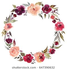 Watercolor floral wreath with white background. Wreath with roses leaves Floral Watercolor Background, Floral Wreath Watercolor, Watercolor Flowers, Flower Wreath Illustration, Wreath Tattoo, Framed Tattoo, Wreath Drawing, Deco Floral, Flower Tutorial