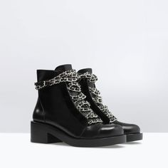 ZARA - SHOES & BAGS - LEATHER LACE-UP BOOTIES WITH CHAINS