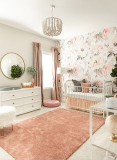 baby girl nursery room ideas 65724475798437997 - Loverly Grey Baby – Nursery Reveal – Loverly Grey Source by loverlygrey Baby Nursery Decor, Baby Bedroom, Nursery Furniture, Baby Decor, Nursery Room, Kids Bedroom, Baby Girl Nursery Wallpaper, Blush Nursery, Floral Nursery