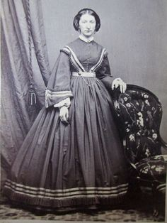 Civil War Era Woman CDV Photo Victorian Lady Pretty Hoop Dress Huge Sleeves | eBay