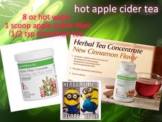 8 oz hot water 1 scoop of apple active fiber 1/2 tsp cinnamon tea