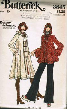 Retro Sewing Womens Coat Pattern Butterick 3845 Betsey Johnson Hooded Long or Short Swing Coat Womens Vintage Sewing Pattern Bust 36 Uncut Vintage Dress Patterns, Coat Patterns, Clothing Patterns, 1970 Style, 70s Fashion, Vintage Fashion, Swing Coats, Retro Pattern, Pattern Ideas