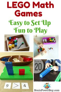 These LEGO Math Games are easy to set up and a lot of fun to play. | Brain Power Boy Lego Activities, Activities For Boys, Math For Kids, Fun Math, Easy Math, Math 2, Lego Math, Math Classroom, Kindergarten Math