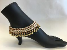 - Bollywood Style Ethnic Gold plated Anklets with Ghungroos and stones with Adjustable Hook, for the perfect fit. Ghungroos add Glamour and Beauty to you. Wearing these Beautiful Payal/Anklet will Mak