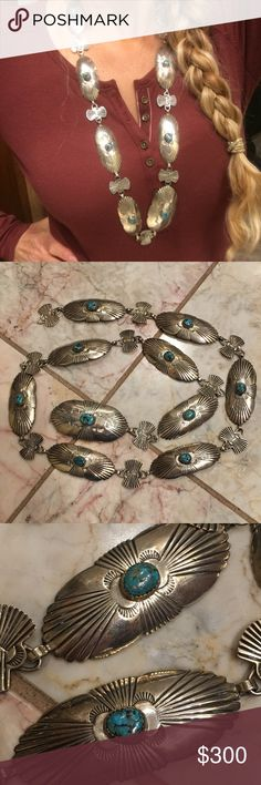 "Native American Sterling Turquoise Conch Belt Native American Sterling tested, turquoise Conch belt. This is an awesome belt, see all pictures!! The Turquoise looks like Spiderweb / Spider Web to me, it's very beautiful!! Can also be worn as a Necklace. Has blue, black and green colors to the stones, native designs on conches. It measures at about 35"" and weighs at 119.6 g. It's a gorgeous belt, looks great with Spell And The Gypsy Collective Top, Dress, Skirt and other Turquoise jewelry you…"