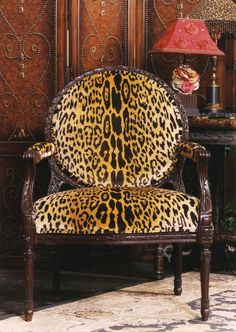 Leopard Print Chair - by Henredon Furniture