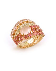 Ring in 18k rose gold with round diamonds, rose quartz and pink tourmaline.