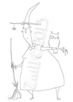 Cartoon style Witch and Owl Hand Embroidery Pattern by maureen