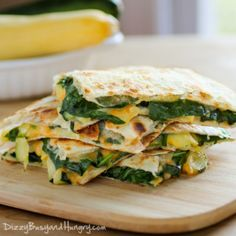 Cheesy Zucchini Spinach Quesadillas | Dizzy Busy and Hungry!