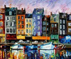 Honfleur Normandía espátula óleo sobre lienzo por AfremovArtStudio