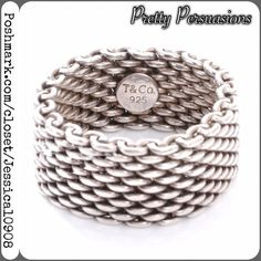 SALE Tiffany & Co .925 Silver Mesh Ring & Dust Bag Tiffany & Co .925 Silver Mesh Ring & Dust Bag  MSRP $320.00  This is an authentic TIFFANY & CO Sterling Silver Mesh Somerset Ring. This is a stunning ring that is beautifully crafted of mesh silver ringlets for a stunning look. This is a marvelous ring for a one of a kind look from Tiffany & Co.  Size: 7  Condition: Excellent. Worn only a couple times. Well cared for. Always kept in Tiffany dust bag.   * just professionally cleaned prior to…