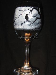 Gothic Graveyard Hand Painted Wine Glass. $40.00, via Etsy.