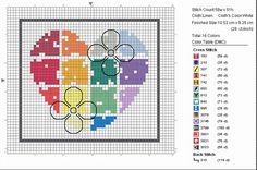 free cross stitch heart multicolor