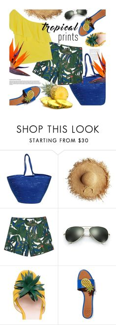 """""""summer"""" by magdafunk ❤ liked on Polyvore featuring Doug Johnston, Little Marc Jacobs, Ray-Ban, Kate Spade, Tory Burch, Alice + Olivia, tropicalprints and hottropics"""
