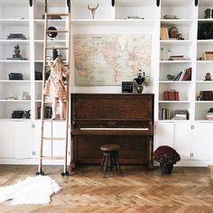 Likes, 48 Comments - seth + jenna Piano Room Decor, Home Music Rooms, Home And Living, Living Room, Bookcase Wall, Secret Rooms, Home Office Space, Dream Rooms, Cool Rooms