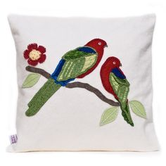 Wool felt cushion in natural with a beautiful colourful felt parrot design finished with intricate crochet and embroidery detail. No two cushions are the same as each one is individually hand made.