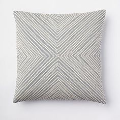 Diamond Dot Crewel Pillow Cover - Dusty Blue; West Elm; $39 (cover) ($14 insert) - Could use on couch in TV room too!