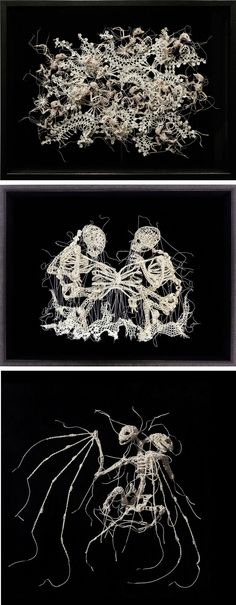 Brittle Skeletons Crocheted from Discarded Textiles by Caitlin McCormack
