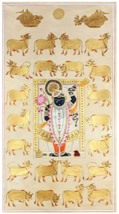 Stop by for the House of Things Pichwai pop-up at Good Earth, Mumbai Pichwai Paintings, Indian Art Paintings, Krishna Painting, Madhubani Painting, Madhubani Art, Traditional Paintings, Traditional Art, Señor Krishna, Baby Krishna