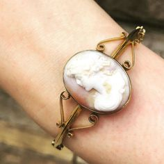 Just arrived! This lovely Victorian Cameo bangle. All in 9ct gold with gorgeous scroll details on either side of the cameo. A rare piece not to be missed out on!