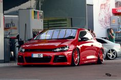 VW scirocco red stance low air ride