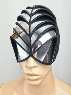 headpiece or Alien warrior mask ,helmet as for futuristic sci fi purposes steampunk fetish cyber headdress cybergoth or halloween gladiator warrior