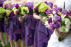 Green Purple Flowers Wedding Bridesmaids Photos & Pictures - WeddingWire.com. I don't want that much green but this is the dress color basically