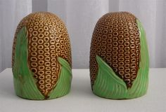 "HUGE Vintage MAJOLICA Salt Pepper Shakers CORN & LEAF Made in JAPAN 4 1/4"" Tall"