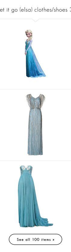 """let it go (elsa) clothes/shoes 3"" by srta-sr ❤ liked on Polyvore featuring smrfrozen, disney, frozen, backgrounds, elsa, art, dresses, gowns, long dresses and blue"