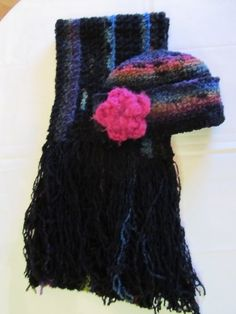 Black Multicolored Boucle Scarf and Hat Set  GREAT GIFT by clriegs, $35.00