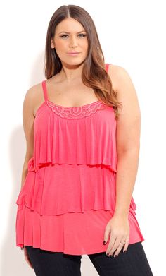 City Chic TIERED BEAD NECK TOP-Women's Plus Size Fashion