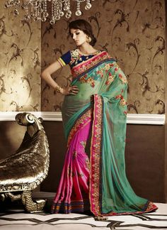 Green & Pink Soft Net , Crepe Chiffon Party Wear Saree