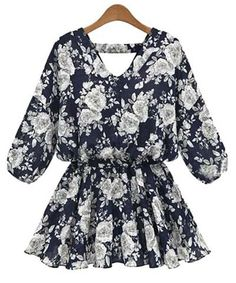 Chic Floral Print 3/4 Sleeve V-Neck Chiffon Blouse For Women