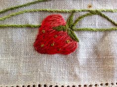 Mums embroidery - strawberry Strawberries, Stitches, Embroidery, Space, Sewing, Knitting, Crochet, Diy, Beautiful