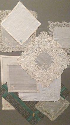 Mid Early Century Monogrammed handkerchiefs from Perelman Center's Wear Words Exhibit Philadelphia Museum Of Art, Handkerchiefs, Fashion History, Exhibit, Decorative Boxes, Monogram, Words, Frame, How To Wear